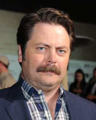 LOS ANGELES, CA - NOVEMBER 05: Actor Nick Offerman arrives at The Hollywood Reporter's Annual Next Generation Reception held at Milk Studios on November 5, 2011 in Los Angeles, California. (Photo by Alberto E. Rodriguez/Getty Images)