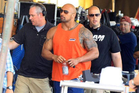 "Dwayne ""The Rock"" Johnson on the film set of 'Pain and Gain' in Miami."