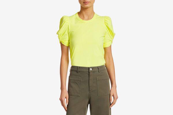 A.L.C. Kati Puff-Sleeve Tee, Neon Yellow