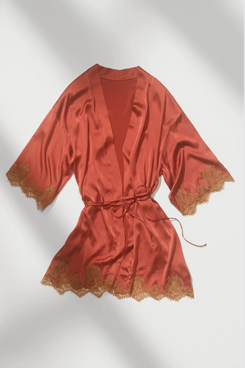 Silk Lace Kimono Dressing Gown
