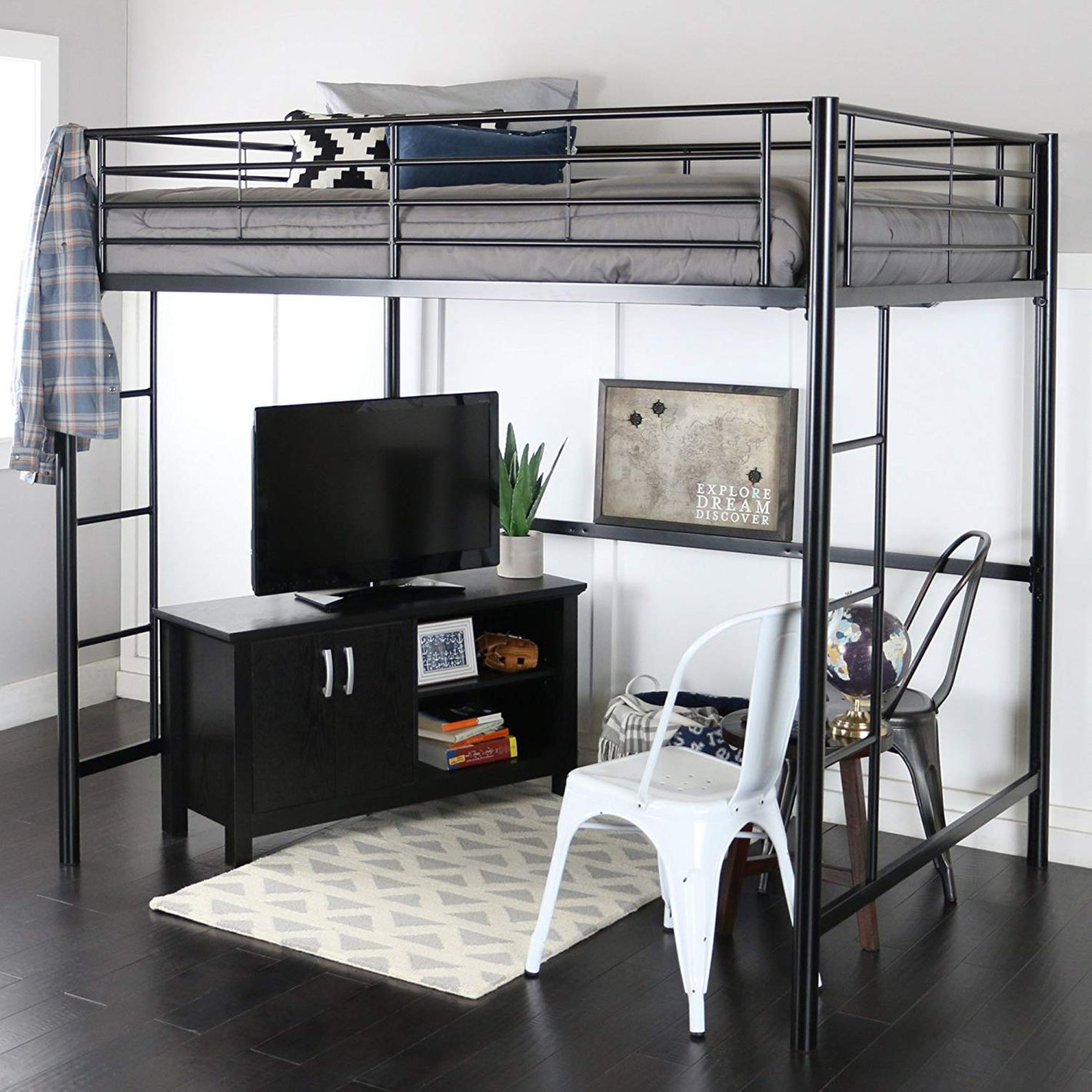WE Furniture Full Metal Loft Bed