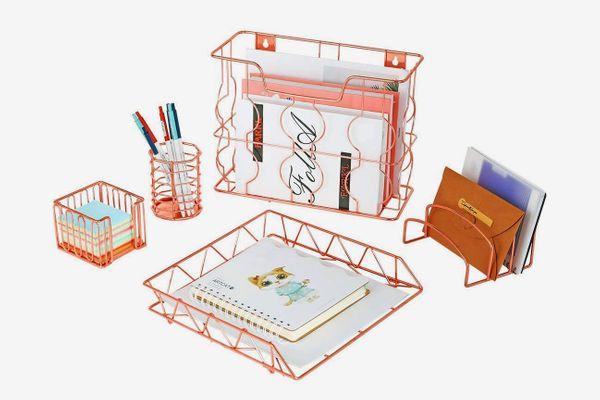 Rose Gold 5 in 1 Metal Desk Organizing Set