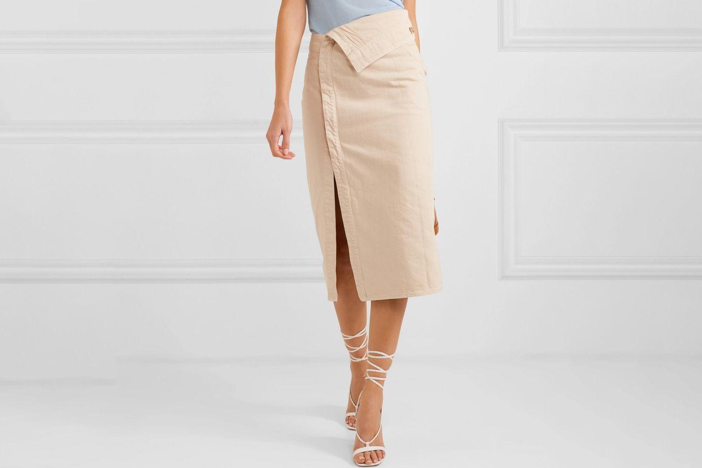 Jacquemus Fold Denim Midi Skirt