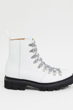 Grenson Nanette White Leather Hiker Boots with Black Contrast Sole