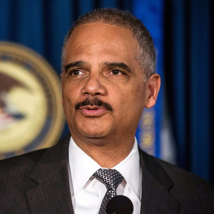 U.S. Attorney General Eric Holder speaks at a press conference at the U.S. Attorney's Office for the Souther District of New York on April 1, 2014 in New York City. Holder spoke alongside U.S. Attorney for the South District of New York, Preet Bharara, about the prosecution of Osama Bin Laden's son-in-law, Sulaiman Abu Ghayth.