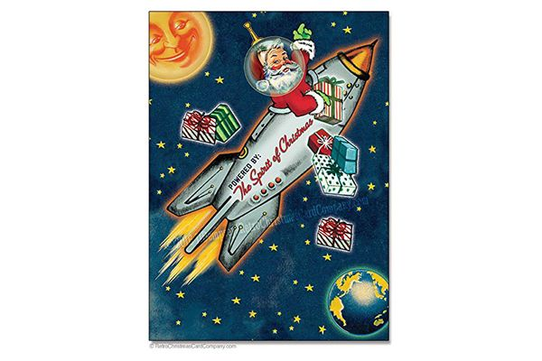 Space Age Santa Christmas Cards, Package of 8