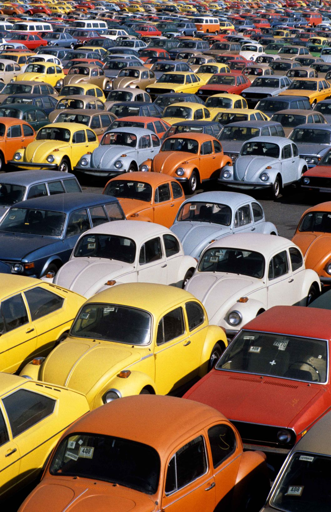 Newark, New Jersey / May 30, 1973 Rows of Volkswagen Beetles are unloaded in the port of New York. During the oil crisis, the US auto market, famously flooded with massive gas-guzzlers, was suddenly turning its eye to compact, energy-efficient cars. The Volkswagen Bug was a big hit due to its low price and fuel economy.