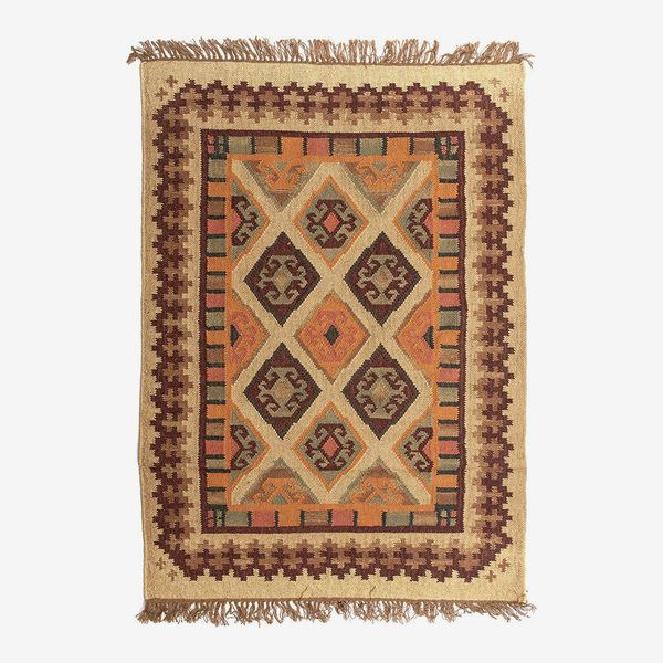 Dandy by William Armes, Hand Woven Kilim Rug Living Room Rug Tangier Design, Brown, 120 x 180
