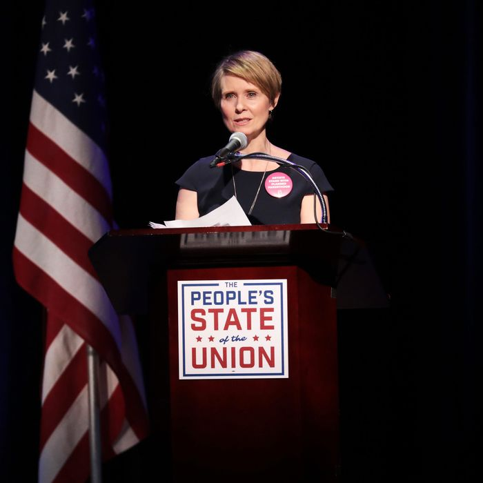Actress Cynthia Nixon speaks onstage at The People's State Of The Union at Townhall on January 29, 2018 in New York City. (Photo by Cindy Ord/Getty Images for We Stand United)