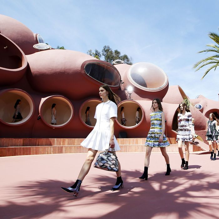 Models in Dior's cruise show at the Palais Bulles.