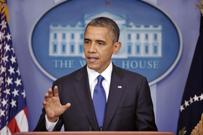 US President Barack Obama speaks on the fiscal cliff on December 21, 2012 in the Brady Briefing Room of the White House in Washington, DC. Obama urged the US Congress to pass scaled-back package to avert tax increases and spending cuts that will take effect in the new year.