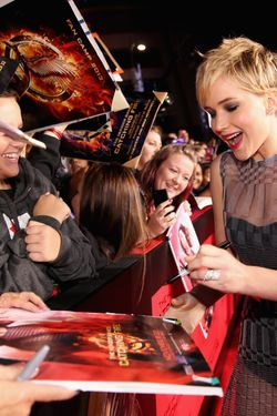 "Actress Jennifer Lawrence attends premiere of Lionsgate's ""The Hunger Games: Catching Fire"" - Red Carpet at Nokia Theatre L.A. Live on November 18, 2013 in Los Angeles, California."