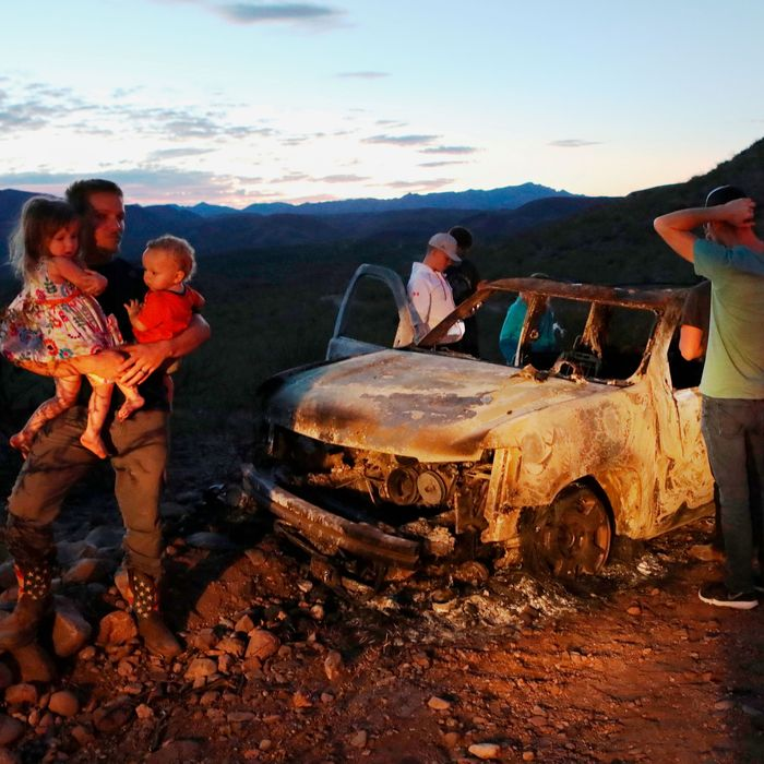 Members of the LeBarón family, dual Mexican and U.S. citizens who live in a Mormon community near the border, investigate the murder scene where nine of their family members were killed.