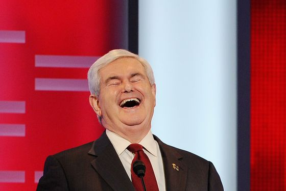 DES MOINES, IA - DECEMBER 10:  Former speaker of the House Newt Gingrich reacts during the ABC News GOP Presidential debate on the campus of Drake University on December 10, 2011 in Des Moines, Iowa. Rivals were expected to target front runner Gingrich in the debate hosted by ABC News, Yahoo News, WOI-TV, The Des Moines Register and the Iowa GOP.  (Photo by Kevork Djansezian/Getty Images)