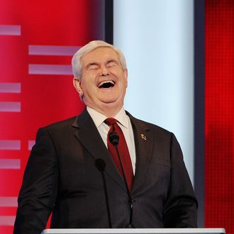 Former speaker of the House Newt Gingrich reacts during the ABC News GOP Presidential debate.