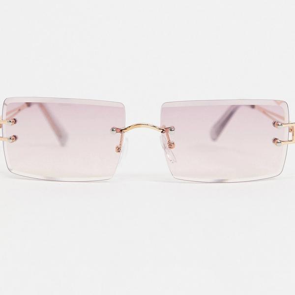 ASOS DESIGN 90s Bevel Lens Square Sunglasses