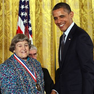 WASHINGTON, DC - OCTOBER 21: U.S. President Barack Obama (R) awards the National Medal of Technology to Ms. Yvonne C. Brill of Skillman, New Jersey, for innovation in rocket propulsion systems for geosynchronous and low earth orbit communication satellites, which greatly improved the effectiveness of space propulsion systems at the White House October 21, 2011 in Washington, DC. Obama honored the recipients of the National Medal of Science and National Medal of Technology and Innovation the highest honors bestowed by the United States government on scientists, engineers, and inventors. (Photo by Win McNamee/Getty Images)