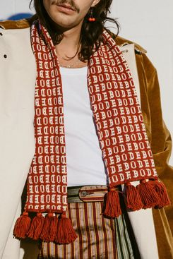 Bode Red Knit Signature Scarf