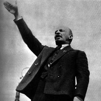 Lenin (1870-1924) making a speech in the Red Square at the unveiling of a temporary monument to Stepaz Razin on May 1, 1919.