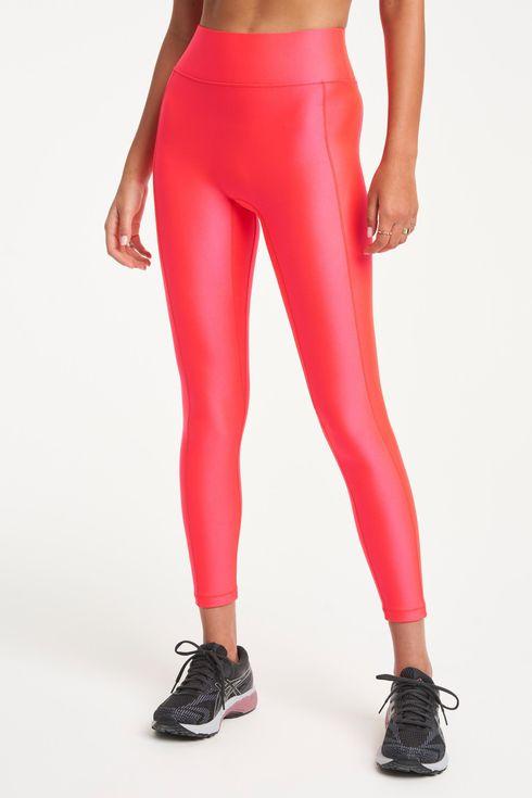 Red thin short spandex leggings