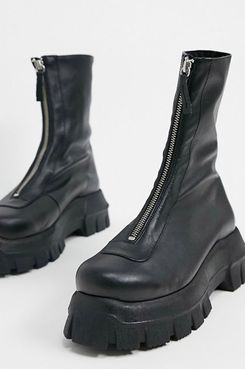 ASOS DESIGN Apricot premium leather chunky zip front boots in black