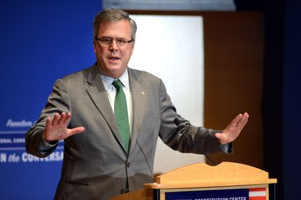 Former Florida Gov. Jeb Bush speaks to the media after being named  Chairman of the National Constitution Center's Board of Trustees December 6, 2012 in Philadelphia, Pennsylvania.  He will succeed President William J. Clinton, who has served as Chairman since January 2009. Governor Bush's father President George H.W. Bush served as Chairman prior to Clinton.