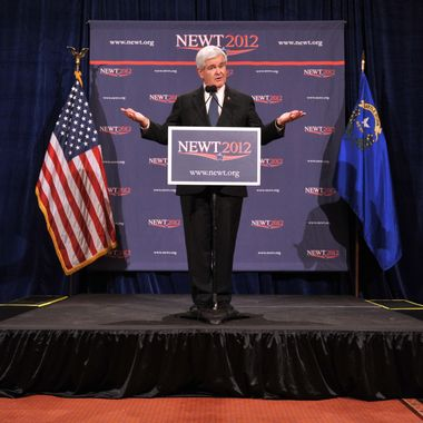 Republican presidential hopeful Newt Gingrich speaks at a press conference February 4, 2012 after the results of the Nevada caucus were released in Las Vegas, Nevada. AFP PHOTO/Stan HONDA (Photo credit should read STAN HONDA/AFP/Getty Images)