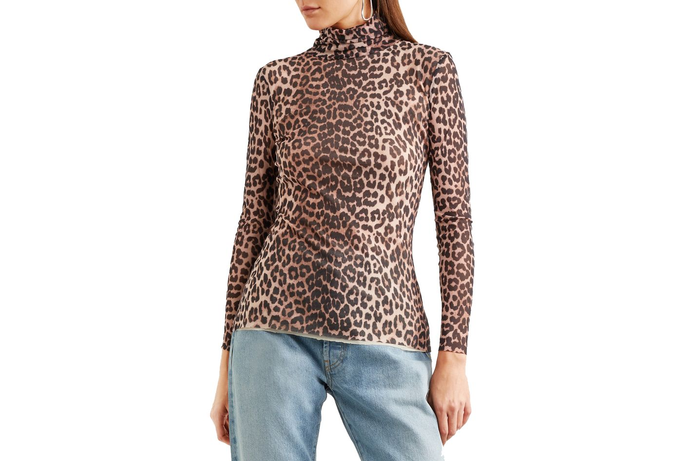 Ganni Tilden Leopard-Print Mesh Turtleneck Top