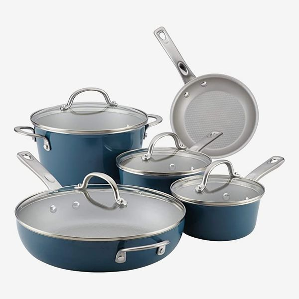 Ayesha Curry Home Collection Nonstick Cookware Pots and Pans Set, 9 Piece in Twilight Teal