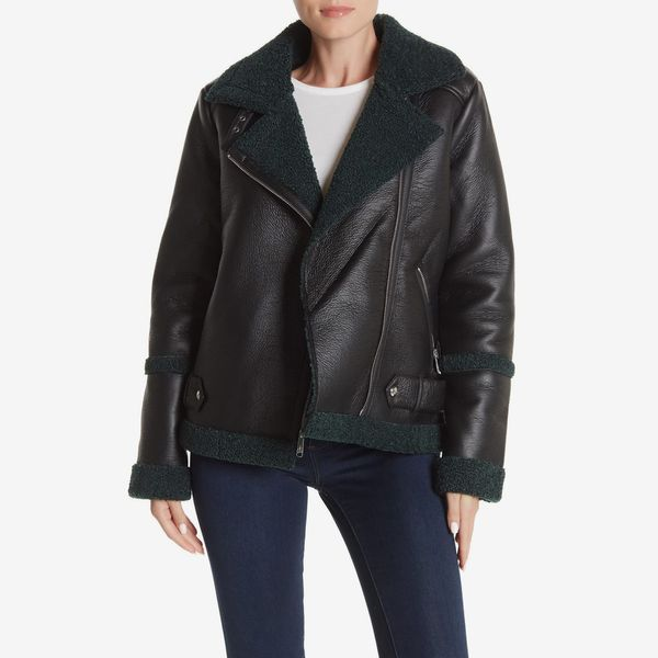 Sam Edelman Faux Shearling Lined Oversized Moto Jacket