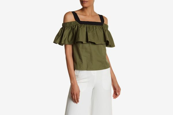 Grey Jason Wu Cold Shoulder Poplin Top