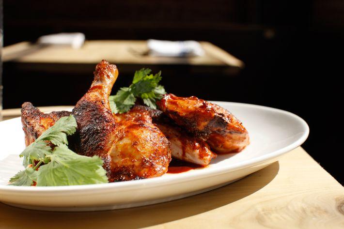 The restaurant's Pasilla chicken with focaccia and cilantro.