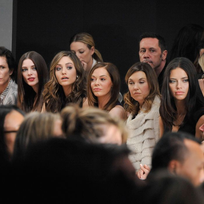 Second from left: Ashley Greene, Emmy Rossum, Rose McGowan.