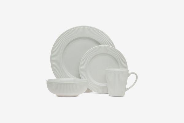 Godinger Republique 16-Pc. White Embossed Dinnerware Set, Service for 4