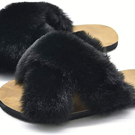 Crazy Lady Store Women's Fuzzy Fluffy Furry Fur Slippers
