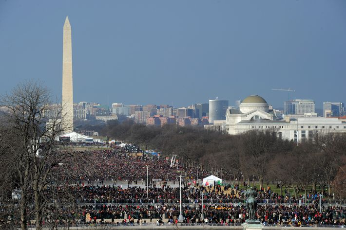 Crowds arrive on the National Mall to witness US President Barack Obama taking the oath of office during the 57th Presidential Inauguration ceremonial swearing-in at the US Capitol on January 21, 2013 in Washington, DC. The oath will be administered by US Supreme Court Chief Justice John Roberts, Jr.