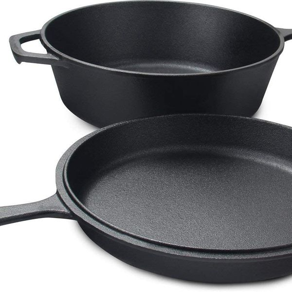 KICHLY Pre-Seasoned Cast Iron 2-in-1 Dutch Oven and Skillet