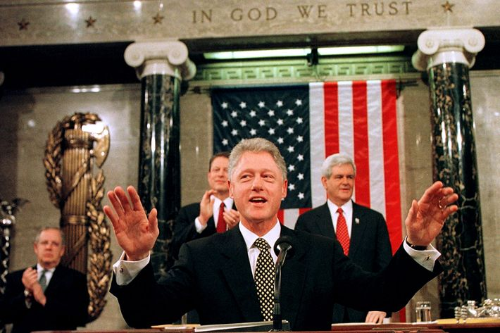 WASHINGTON, DC - JANUARY 27:  US President Bill Clinton acknowledges the applause as he starts his State of The Union address to the 105th Congress and the American people 27 January on Capitol Hill in Washington. Clinton defended the Social Security program, promoted a raise in the minimum wage, proposed improvements in education and asked Congress to approve a consumer bill of rights for medical care. AFP PHOTO  JOE MARQUETTE  (Photo credit should read JOE MARQUETTE/AFP/Getty Images)