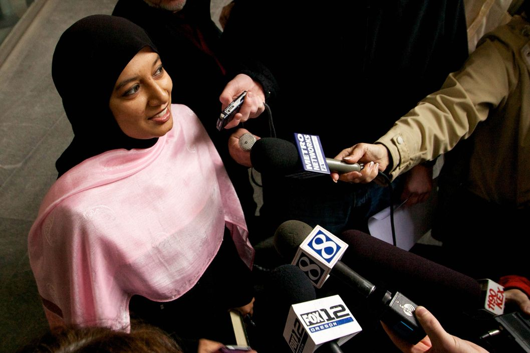 Saba Ahmed, a friend of the family of Mohamed Osman Mohamud, speaks to the media after Mohamed Osman Mohamud appeared in court on November 29, 2010 in Portland, Oregon.