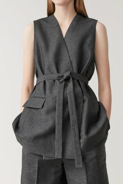 COS Sleeveless Linen-Mix Blazer