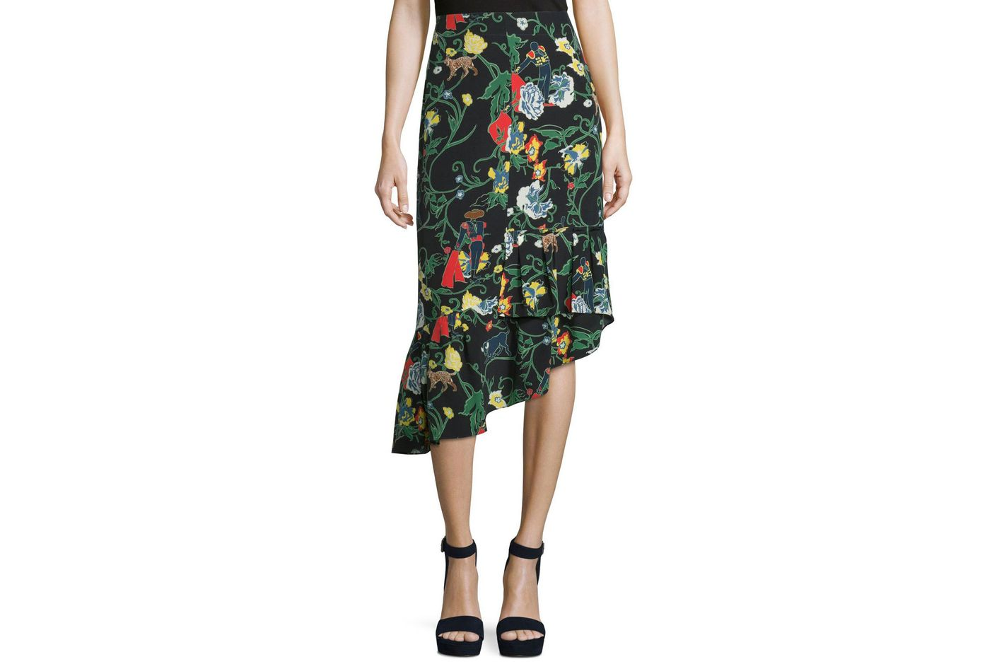 Tibi Gypsy Printed Silk Asymmetric Midi Skirt