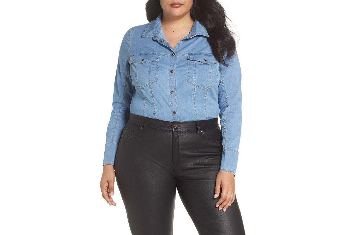 Ashley Graham x Marina Rinaldi Denim Shirt Bodysuit