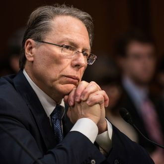 Wayne LaPierre, Chief Executive Officer of the National Rifle Association(NRA), listens during a hearing of the Senate Judiciary Committee on Capitol Hill January 30, 2013 in Washington, DC. The committee held the hearing with retired Astronaut Mark Kelly, husband of former Rep. Gabrielle Giffords, Wayne LaPierre, Chief Executive Officer of the National Rifle Association, and others to testify about solutions to gun violence in the United States. AFP PHOTO/Brendan SMIALOWSKI (Photo credit should read BRENDAN SMIALOWSKI/AFP/Getty Images)