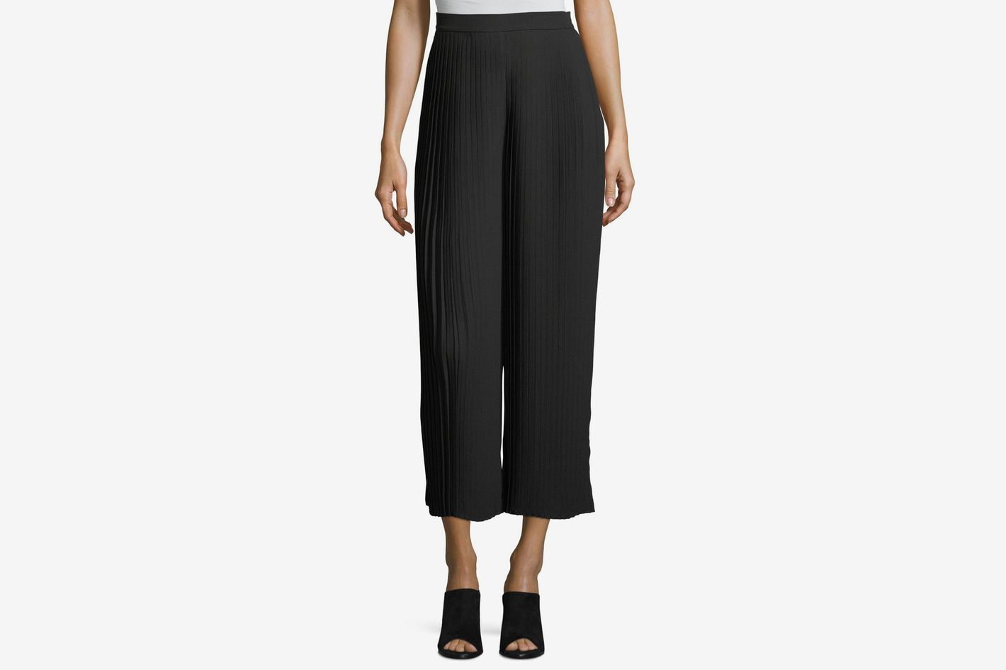Eileen Fisher Knife-Pleated Wide-Leg Ankle Pants d7bc044a17e
