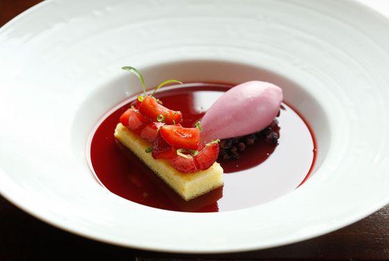 """Strawberries and Cream"" vanilla custard, olive-oil cake, verjus sorbet."