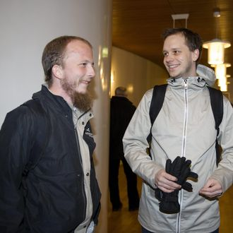 TO GO WITH AFP STORY BY MARC PREEL(FILES) File picture of Pirate Bays internet site founders Gottfrid Svartholm Warg and Peter Sunde arriving for their trial at Stockholm city court. The defendants are accused of breaking Swedish copyright law by helping Internet users worldwide download protected music, movies and computer games. Sweden's tough new anti-piracy law has led to a sharp drop in illegal downloading but critics say the effects will be short-lived and argue it is an excessive breach of personal privacy. AFP PHOTO / BERTIL ERICSON (Photo credit should read BERTIL ERICSON/AFP/Getty Images)