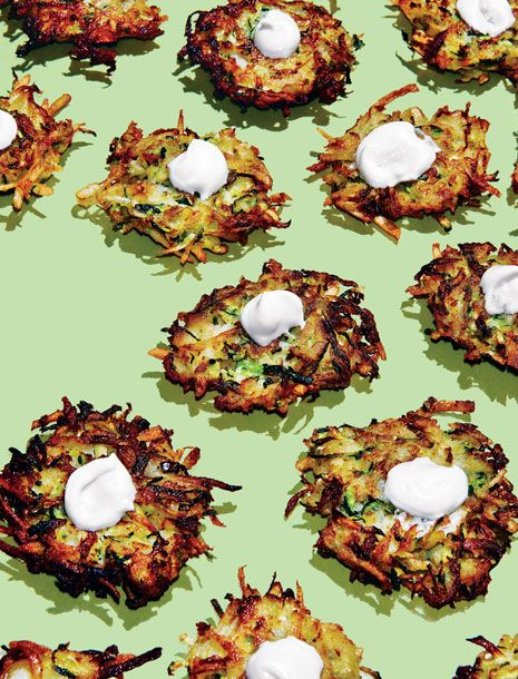 "<b>Recipe:</b><a href=""http://nymag.com/listings/recipe/zucchini-apple-latkes/""> Zucchini, Apple, and Sage Latkes With Poached-Apple Yogurt Sauce</a> by Einat Admony"