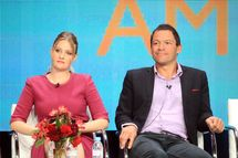"Actress Romola Garai (L) and actor Dominic West speak at the ""The Hour"" discussion panel during the BBC America portion of the 2012 Summer Television Critics Association tour at the Beverly Hilton Hotel on August 1, 2012 in Los Angeles, California."