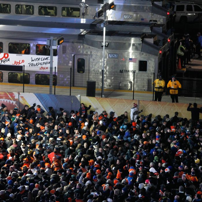 Thousands of fans wait in line for the train back to Secaucus after the Superbowl 2014 game in East Rutherford