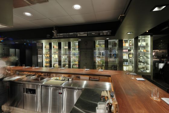 The refrigerated wall, a functional design feature also found in Sydney and Toronto.